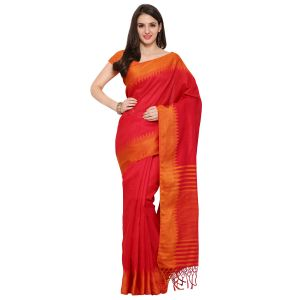 See More Orange Colour Self Design Solid Silk Banarasi Saree Kabali Orange