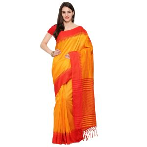 See More Yellow & Red Colour Self Design Solid Silk Banarasi Saree Kabali Yellow Red