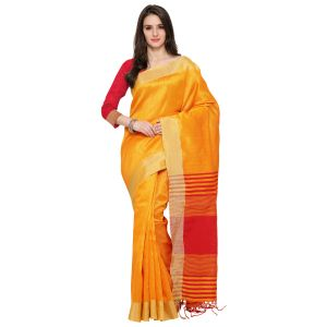 See More Yellow Colour Self Design Solid Silk Banarasi Saree Kabil Yellow