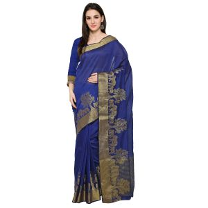 See More Navy Blue Colour Self Design Solid Poly Cotton Banarasi Saree Kanjivaram Gaj Nevy Blue