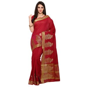 Vipul,Arpera,Kalazone,See More,Jpearls,Bagforever Women's Clothing - See More Red Colour Woven Work Poly Cotton Saree KANJIVARAM WEL RED