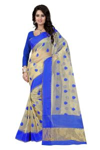 Jagdamba,Kalazone,Flora,Vipul,Jpearls,Sangini,See More,Parineeta Women's Clothing - See More Self Designer  Color Blue Cotton Saree With Golden Border Kavya 2 Blue