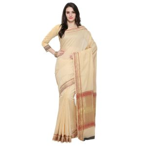 See More Beige Colour Woven Work Poly Cotton Saree Mayuri Border Chikku