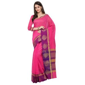 See More Pink Colour Woven Work Poly Cotton Saree Mayuri Design Border Pink