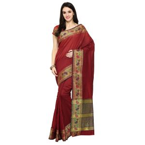 See More Maroon Colour Woven Work Poly Cotton Saree Mayuri Flower Border Maroon