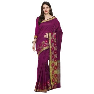 Kiara,Sparkles,Jagdamba,Cloe,See More Women's Clothing - See More Purple Colour Woven Work Poly Cotton Saree MAYURI FLOWER JAAL MAGENTA