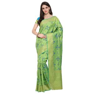 See More Green Colour Woven Work Poly Cotton Saree Mayuri Patola 1 P Green