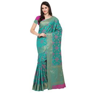 See More Sky Blue Colour Woven Work Poly Cotton Saree Mayuri Patola 1 Sky Blue