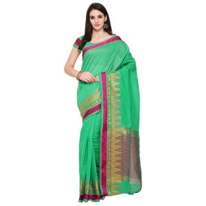 See More Green Colour Woven Work Poly Cotton Saree Mayuri Piramid Border Green