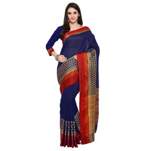 See More Navy Blue Colour Woven Work Poly Cotton Saree Mayuri Tringal Jaal Nevy Blue