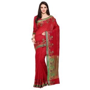 See More Red Colour Woven Work Poly Cotton Saree Mayuri Wel Red