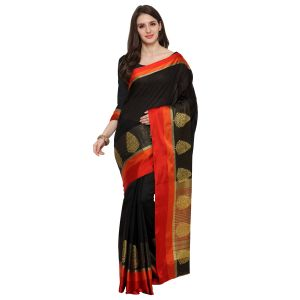 See More Black Colour Woven Work Poly Cotton Saree Mayuri Xmas Black