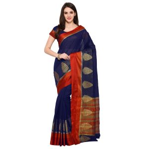 Rcpc,Mahi,Unimod,See More,Valentine,Gili,Fasense Women's Clothing - See More Navy Blue Colour Woven Work Poly Cotton Saree MAYURI XMAX NEVY BLUE