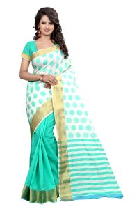 See More Self Designer Green Color Poly Cotton Saree With Blouse Piece Padamshree Sea Green