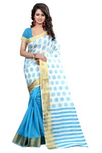 See More Sarees - See More Self Designer Sky Blue  Color Poly  Cotton Saree With Blouse Piece PADAMSHREE SKY BLUE