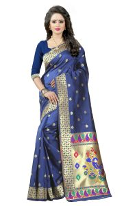 See More Nevy Blue Color Paithani Silk Saree Paithani 3 Nevy Blue