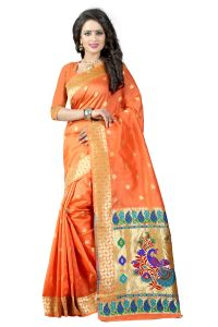 Women's Clothing - See More Orange Color Paithani Silk Saree Paithani 3 Orange