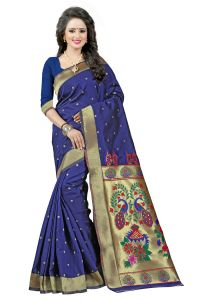See More Nevy Blue Color Paithani Silk Saree Paithani 4 Nevy Blue