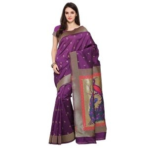 See More Purple Colour Woven Work Art Silk Saree Paithani 5 Magenta