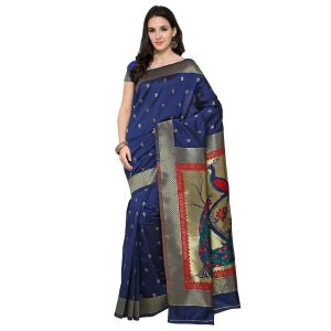 See More Navy Blue Colour Woven Work Art Silk Saree Paithani 5 Nevy Blue