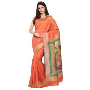 See More Orange Colour Woven Work Art Silk Saree Paithani 5 Orange