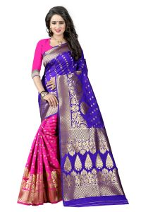See More Blue Color Self Design Art Silk Woven Work Saree Pari 2 Blue Pink