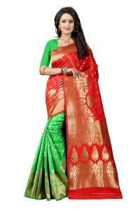 See More Red Color Self Design Art Silk Woven Work Saree Pari 2 Red P Green