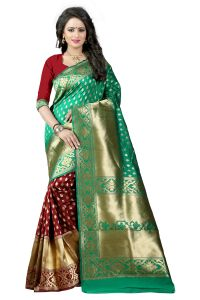 See More Turquoise Color Self Design Art Silk Woven Work Saree Pari 3 Rama Maroon