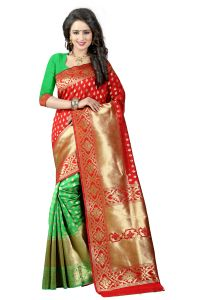 See More Red Color Self Design Art Silk Woven Work Saree Pari 3 Red P Green