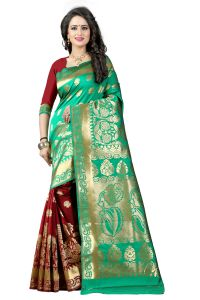 See More Turquoise Color Self Design Art Silk Woven Work Saree Pari 5 Rama Maroon
