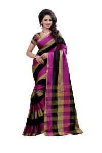 See More Self Design Multi Color Banarasi Cotton Saree