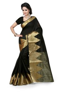 See More Self Design Black Colour Poly Cotton Banarasi Saree With Blouse For Women Raj_balck_piramid