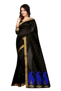 See More Self Design Black Colour Poly Cotton Banarasi Saree With Blouse For Women Raj Blue_black Mango 01