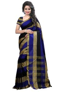 Self Design Poly Cotton Chikku Blue Clour Banarasi Saree With Blouse For Women Raj Bluechiku Leriya