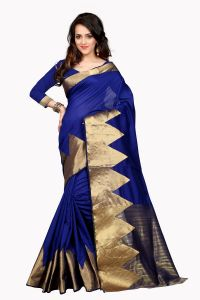 See More Self Design Blue Colour Poly Cotton Banarasi Saree With Blouse For Women Raj_blue_piramid