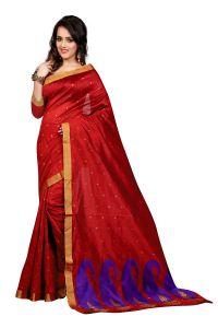 See More Self Design Blue Red Colour Poly Cotton Banarasi Saree With Blouse For Women Raj Blue_red Mango 02