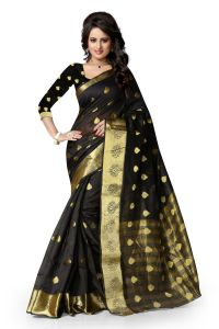 See More Art Silk Banarasi Saree With Blouse For Women- Black With Golden