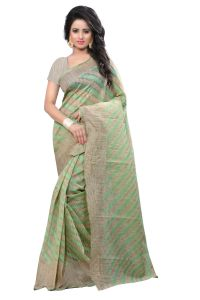 See More Self Design Green Banarasi Cotton Saree