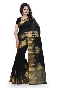 See More Self Design Black Colour Poly Cotton Banarasi Saree With Blouse For Women Raj_haran_black