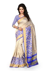See More Self Design Blue Colour Poly Cotton Banarasi Saree With Blouse For Women Raj_jaal_blue