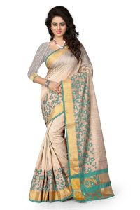 See More Self Design Rama Colour Poly Cotton Banarasi Saree With Blouse For Women Raj_jaal_rama