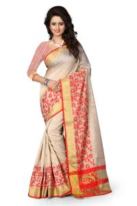 See More Art Silk Banarasi Saree With Blouse For Women- Beige And Red