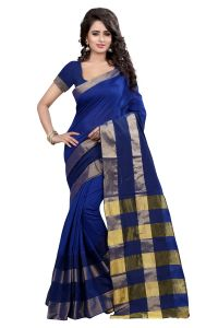 Kiara,Sparkles,Jagdamba,Cloe,See More Women's Clothing - See More Self Designer  Blue  Color Poly  Cotton Saree With Blouse Piece RAJKALA BLUE