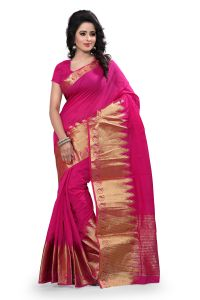 See More Self Design Pink Colour Poly Cotton Banarasi Saree With Blouse For Women Raj_kery_pink