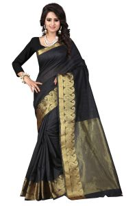 See More Self Designer Black Colour Cotton Saree With Golden Border Raj Kesar Black