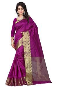 See More Self Designer Mazenta Colour Cotton Saree With Golden Border Raj Kesar Mazenta