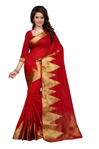 See More Self Design Red Colour Poly Cotton Banarasi Saree With Blouse For Women Raj_mountain_red