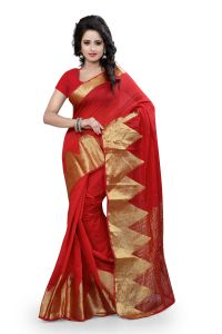 See More Self Design Red Colour Poly Cotton Banarasi Saree With Blouse For Women Raj_piramid_red