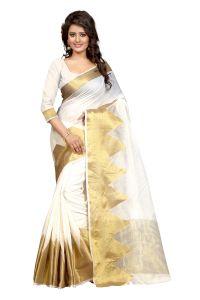 See More Cotton Sarees - See More Self Design White Colour Poly Cotton  Banarasi Saree With Blouse For Women Raj_Piramid_White