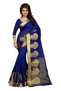See More Self Design Blue Colour Poly Cotton Banarasi Saree With Blouse For Women Raj_pot_blue